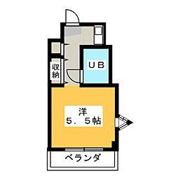 三越青葉台 4階ワンルームの間取り