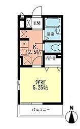 神奈川県横浜市神奈川区神大寺4の賃貸アパートの間取り