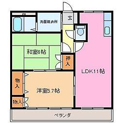 三重県津市高茶屋6丁目の賃貸アパートの間取り