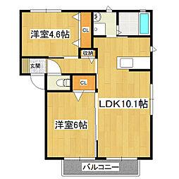 カーサソレアードI棟[2階]の間取り