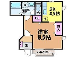 愛媛県松山市畑寺2丁目の賃貸アパートの間取り