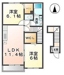 愛知県稲沢市小池1丁目の賃貸アパートの間取り