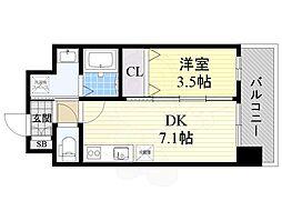 阪急京都本線 正雀駅 徒歩5分の賃貸マンション 2階1DKの間取り