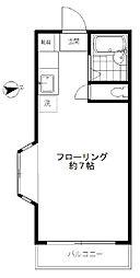 東急東横線 学芸大学駅 徒歩10分の賃貸マンション 3階ワンルームの間取り