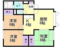 クレド-ル弐番館 1階3LDKの間取り