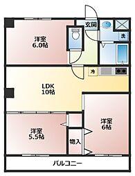 JR京浜東北・根岸線 川崎駅 バス16分 中之原住宅前下車 徒歩3分の賃貸マンション 2階3LDKの間取り