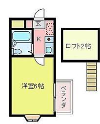 シティパレス中富3[2階]の間取り
