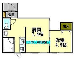 北海道小樽市花園3丁目の賃貸アパートの間取り