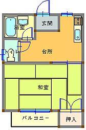 栃木県日光市荊沢の賃貸アパートの間取り