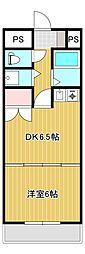 JR身延線 常永駅 徒歩17分の賃貸マンション 2階1DKの間取り