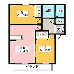 愛知県小牧市山北町の賃貸アパートの間取り