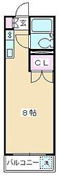 コーポラスミハラII[202号室]の間取り