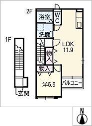 ドレサ—ジュB[2階]の間取り
