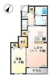 兵庫県明石市魚住町中尾221の賃貸アパートの間取り
