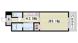 JR東海道・山陽本線 姫路駅 徒歩22分の賃貸マンション 1階1Kの間取り