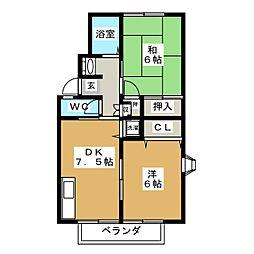 ガーデン欅C棟[1階]の間取り