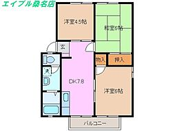 三重県桑名市元赤須賀の賃貸アパートの間取り