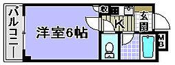 ドミール小松里[201号室]の間取り