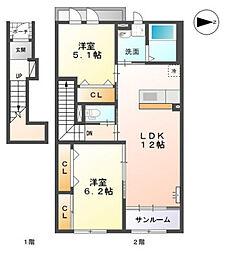 高木西賃貸アパート新築工事[201号室]の間取り