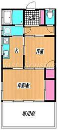 JR中央線 武蔵小金井駅 徒歩17分の賃貸アパート 1階2Kの間取り