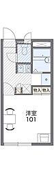 JR片町線(学研都市線) 四条畷駅 徒歩14分の賃貸アパート 1階1Kの間取り