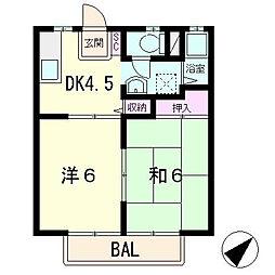 横山ハイツB棟[1階]の間取り