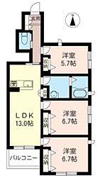 東京都府中市片町3丁目の賃貸アパートの間取り