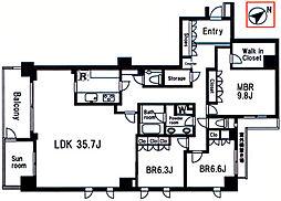 ライオンズマンション弦巻グランフォート[6階]の間取り