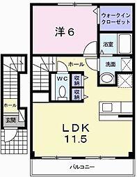 兵庫県姫路市広畑区高浜町1の賃貸アパートの間取り