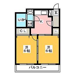 ヴィラ曽根崎III[3階]の間取り