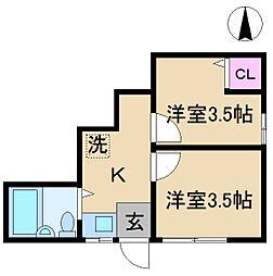 ソウワアパート[1階]の間取り