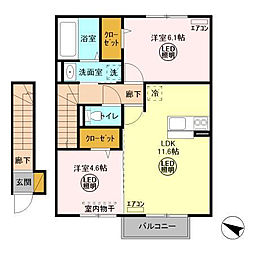 茨城県神栖市奥野谷の賃貸アパートの間取り