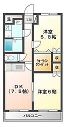 プリザーブ千代崎[2階]の間取り