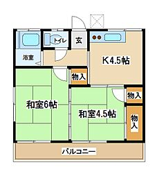 東京都府中市分梅町5丁目の賃貸アパートの間取り