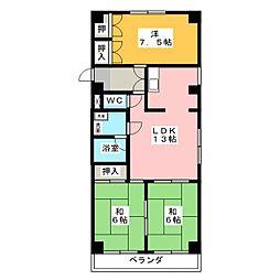 サンウイング B棟[2階]の間取り