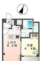 東京メトロ有楽町線 麹町駅 徒歩3分の賃貸マンション 2階1DKの間取り