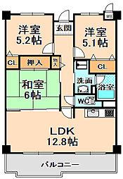 兵庫県伊丹市伊丹6丁目の賃貸マンションの間取り