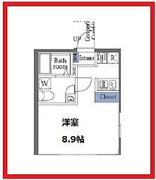 ラフォート菊川 2階1Kの間取り