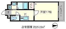 シエルコート一乗寺[4階]の間取り