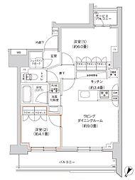 JR山手線 田町駅 徒歩5分の賃貸マンション 11階2LDKの間取り