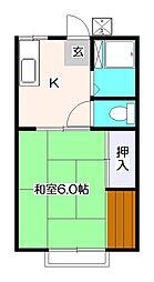東京都小平市津田町3の賃貸アパートの間取り