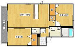 カームネスコート A棟[2階]の間取り