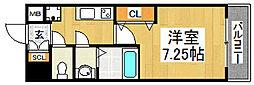 南海高野線 中百舌鳥駅 徒歩3分の賃貸マンション 8階1Kの間取り