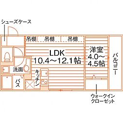 グラース(仮称佐賀大医学部前学生マンション) 3階1LDKの間取り