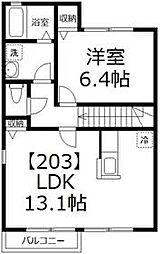 蘭房 C[203号室号室]の間取り