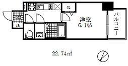 エステムコート神戸グランスタイル 8階1Kの間取り