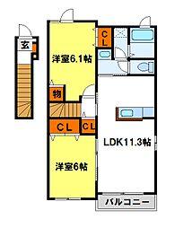 福岡県太宰府市御笠3丁目の賃貸アパートの間取り