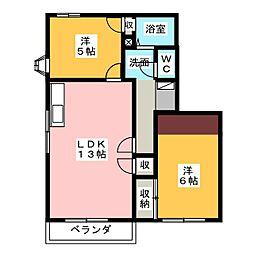 アメーヌ千代田[2階]の間取り