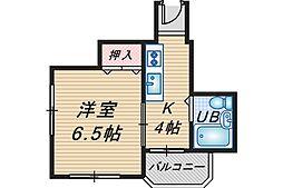 スタジオ108レザン中桜塚[503号室]の間取り