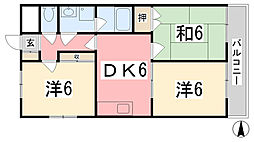 兵庫県姫路市三左衛門堀東の町の賃貸マンションの間取り